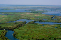 Vista aérea del delta de Danubio Foto de archivo