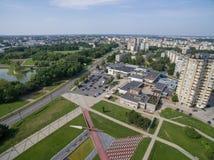 Vista aérea del distrito de Kalnieciai en Kaunas imágenes de archivo libres de regalías