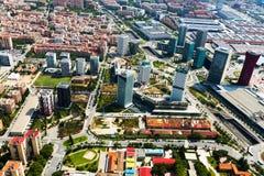Vista aérea del distrito de Sants-Montjuic Barcelona imagenes de archivo