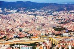 Vista aérea del distrito residencial Barcelona, Cataluña Imágenes de archivo libres de regalías