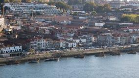 Vista aérea del distrito del vino de Oporto en Vila Nova de Gaia, Oporto, Portugal septentrional fotos de archivo