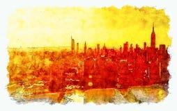 Vista aérea del East River y del horizonte de Manhattan stock de ilustración