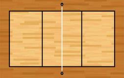 Vista aérea del ejemplo de la corte de voleibol de la madera dura Foto de archivo libre de regalías