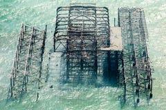 Vista aérea del embarcadero del oeste, Brighton Imagen de archivo