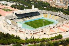 Vista aérea del estadio de Olimpic de Barcelona Imagen de archivo