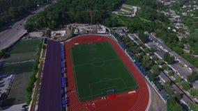 Vista aérea del estadio, fútbol almacen de metraje de vídeo