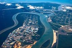 Vista aérea del estuario foto de archivo libre de regalías