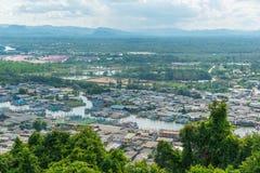 Vista aérea del estuario de Chumphon Fotos de archivo libres de regalías