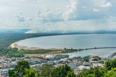 Vista aérea del estuario de Chumphon Fotos de archivo