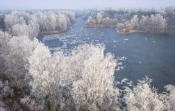 Vista aérea del fondo del invierno con un bosque nevado Foto de archivo