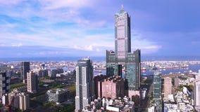 Vista aérea del habor de Gaoxiong - Taiwán almacen de metraje de vídeo