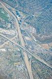 Vista aérea del intercambio Los Ángeles de la carretera foto de archivo libre de regalías