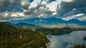 Vista aérea del lago Bled imagen de archivo