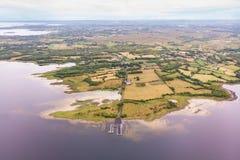 Vista aérea del lago Corrib en Irlanda imagen de archivo