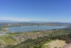 Vista aérea del lago Elsinore Foto de archivo