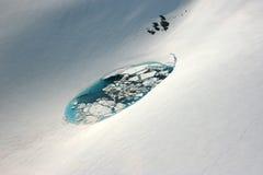 Vista aérea del lago en el glaciar de Denver Fotografía de archivo libre de regalías