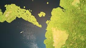 Vista aérea del lago en Siem Reap, Camboya, con el barco del pescador Imágenes de archivo libres de regalías