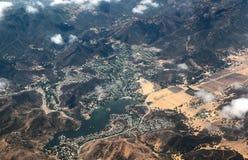 Vista aérea del lago Sherwood, California Foto de archivo libre de regalías