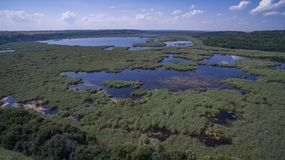 Vista aérea del lago Srebarna cerca de Silistra, Bulgaria imagen de archivo libre de regalías