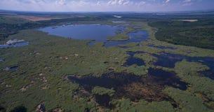 Vista aérea del lago Srebarna cerca de Silistra, Bulgaria imágenes de archivo libres de regalías