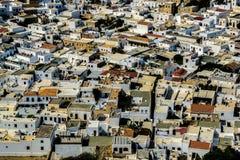 Vista aérea del Lindos Fotos de archivo libres de regalías
