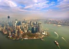 Vista aérea del Lower Manhattan, Nueva York imagenes de archivo
