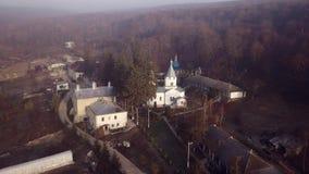 Vista aérea del monasterio cristiano metrajes