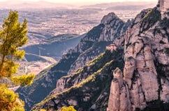 Vista aérea del monasterio de Santa Maria de Montserrat, Cataluña Fotos de archivo