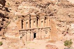 Vista aérea del monasterio en el Petra Foto de archivo libre de regalías