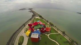 Vista aérea del museo de Frank Gehry de la biodiversidad almacen de metraje de vídeo