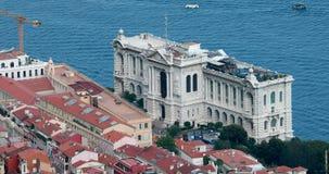 Vista aérea del museo oceanográfico de Mónaco metrajes