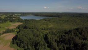 Vista aérea del paisaje rural, del bosque y de un lago escénico almacen de metraje de vídeo