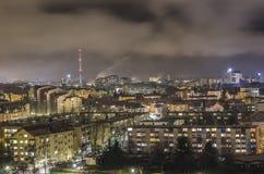 Paisaje urbano de la noche de Ljubljana Foto de archivo