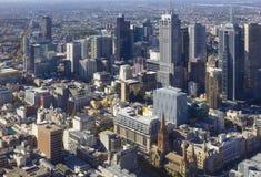 Vista aérea del paisaje urbano de Melbourne durante d3ia Fotografía de archivo libre de regalías