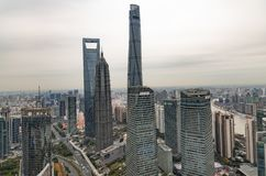 Vista aérea del paisaje urbano de Shangai fotografía de archivo