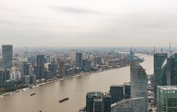 Vista aérea del paisaje urbano de Shangai imagenes de archivo