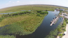 Vista aérea del parque del airboat de los marismas Fotografía de archivo