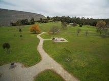 Vista aérea del parque del depósito de Cardinia, Melbourne, Australia imagen de archivo