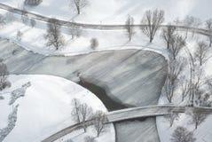 Vista aérea del parque recreacional en invierno imagen de archivo libre de regalías