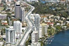 Vista aérea del pasillo del carril de la luz de Gold Coast fotografía de archivo libre de regalías