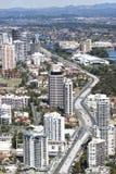 Vista aérea del pasillo del carril de la luz de Gold Coast imágenes de archivo libres de regalías