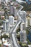 Vista aérea del pasillo del carril de la luz de Gold Coast imagen de archivo libre de regalías