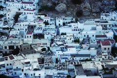Vista aérea del pueblo pesquero Lindos Isla de Rodas fotos de archivo