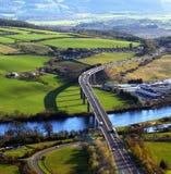 Vista aérea del puente de Friarton, Perth, Escocia Fotografía de archivo