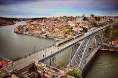 Vista aérea del puente de Luis I foto de archivo libre de regalías