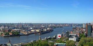 Vista aérea del puerto de Hamburgo Imágenes de archivo libres de regalías