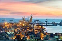 Vista aérea del puerto del contenedor para mercancías del chabang de Laem por la tarde Imagen de archivo libre de regalías