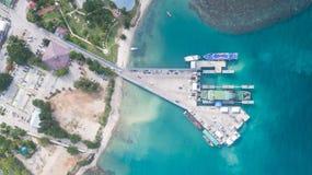 Vista aérea del puerto del international de Koh Phangan Imagen de archivo