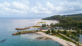 Vista aérea del puerto deportivo del pescador de Koh Phangan Imagenes de archivo