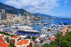 Vista aérea del puerto Hércules en el La Condamine y Monte Carlo Fotos de archivo libres de regalías
